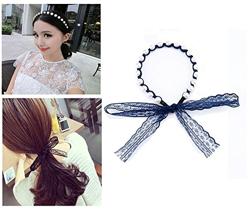 Red Ape Cute Lace Pearl Headband with Ribbon for Women Girls, Navy