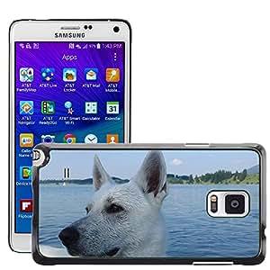 Etui Housse Coque de Protection Cover Rigide pour // M00113452 Perro Perro Schäfer Pastor Blanco Lago // Samsung Galaxy Note 4 IV