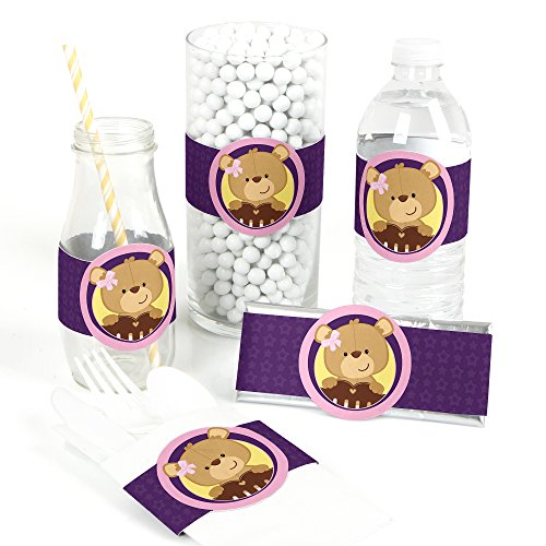 Baby Girl Teddy Bear - DIY Party Supplies - Baby Shower DIY Wrapper Favors & Decorations - Set of 15