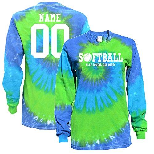 (Customized Softball Blue Green Tie Dye Long Sleeve T-Shirt Play Tough Softball Logo (M) )