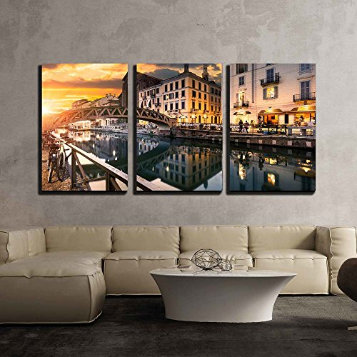 European Decor (wall26 - 3 Piece Canvas Wall Art - Bridge Across the Naviglio Grande Canal at the Evening in Milan, Italy - Modern Home Decor Stretched and Framed Ready to Hang - 16