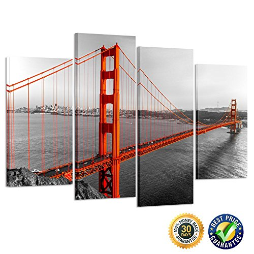 Kreative Arts - Canvas Print Beautiful Golden Gate Bridge San Francisco California Black White Red Wall Art Home Decoration Picture Framed 4 panel Ready to Hang