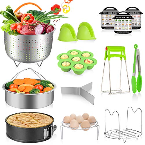 (MIBOTE 14 Pcs Accessories Set Compatible with Instant Pot 5,6,8 Qt - Steamer Baskets, Springform Pan, Egg Steamer Rack, Egg Bites Mold, Dish Plate Clip, Kitchen Tong, Oven Mitts, Magnetic Cheat Sheets)