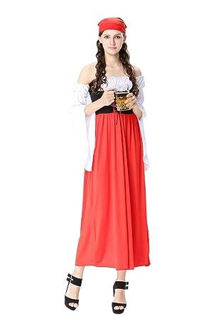 XFentech Mujer Disfraz de Baviera Vestido Largo de ...