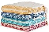 Set of 4 - New Season BRIGHTEST Diamond Weave Turkish Cotton Bath Beach Hammam Towel Peshtemal Blanket (Yellow-Royal-Turquoise-Red)