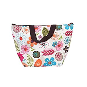 Waterproof Picnic Insulated Fashion Lunch Cooler Tote Bag Travel Zipper Organizer Box,A70-Flower by NYKKOLA