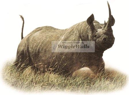6 Inch Black Rhino Rhinoceros Jungle Animals African Safari Africa Removable Peel Self Stick Adhesive Vinyl Decorative Wall Decal Sticker Art Kids Room Home Decor Girl Boy Children 6x4 inch tall ()