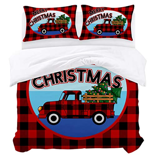 3-Pcs Comforter Cover Set Bedding Set Zipper Closure (1 Duvet Cover + 2 Pillow Shams),Rustic Red Black Buffalo Check Plaids Christmas Truck and Xmas Tree Farmhouse Style California King(90