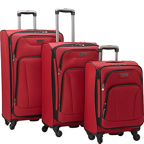 3-Piece Polyester Expandable 4-Wheel Upright Set in Red (4 Exterior Pockets)