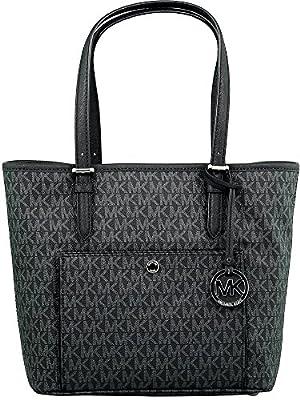 Michael Kors Women's Large Jet Set Top Zip Snap Pocket Tote Bag Leather Shoulder