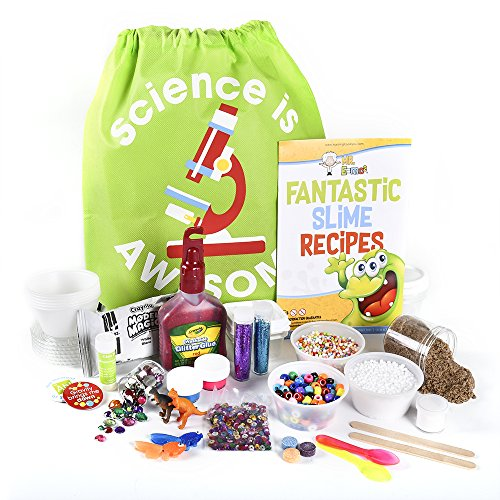 Prime Slime Making Kit Supplies Pack by Mr. E=mc² | DIY Slime Kit for 10+ Recipes Does NOT Include Glue or Activator | Beads for Slime, Slime Containers, Crunchy Slime, Glow, Snow, Sand, Glitter +