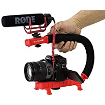 Cam Caddie Scorpion Jr. Video Camera Stabilizing Handle with Included Smartphone and GoPro Compatible Mounts - Red (0CC-0100-JR-RED)