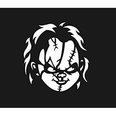 Chucky Face Vinyl Cut Decal Sticker   Horror Halloween Scary Funny   Cars Trucks Vans Walls Laptop   White   5.5 in Tall   CCI258: Automotive