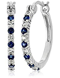 Rhodium Plated Sterling Silver Created White and Blue Sapphire Alternating Hoop Earrings