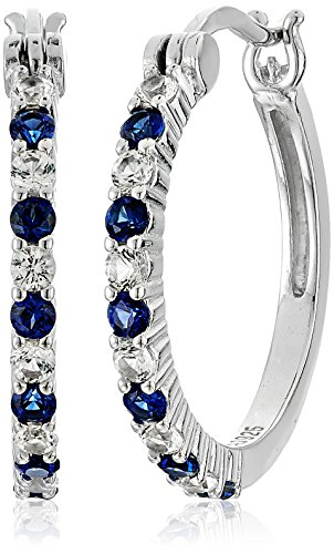 Rhodium Sterling Sapphire Alternating Earrings