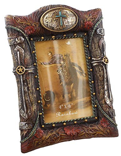 western-buckle-picture-frame-4x6-photo-faux-turquoise-cross-wood-tooled-leather