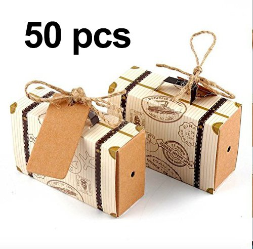 Awtlife 50pcs Suitcase Favor Box with Kraft Card and Burlap Twine for Wedding Party Birthday Baby Shower Decoration by Awtlife