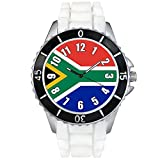 South Africa Country Flag White Jelly Silicone Band Unisex Sports Wrist Watch