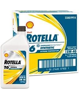 Shell Rotella T6 Full Synthetic Heavy Duty Engine Oil 5W-40, 1 Quart,