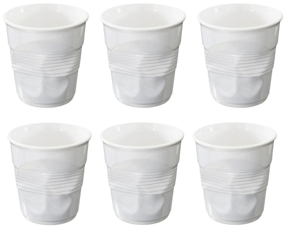 Revol Cappuccino Porcelain Crumpled Tumblers Coffee Tea Baking - Set of 6