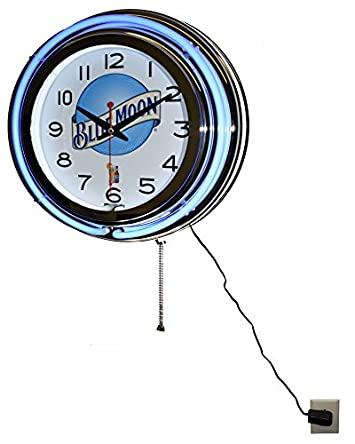 Blue Moon Beer Blue Double Neon Advertising Clock Man Cave Decor