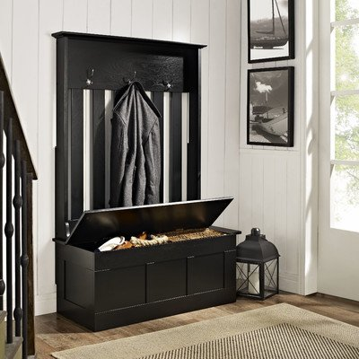 Merveilleux Hall Tree Storage Bench Coat Rack Stand Hooks Entryway Organizer Wood  Furniture (Black)