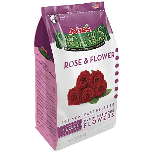 Jobe's 09423  Organics Flower & Rose Granular Fertilizer with Biozome, 4 pound bag