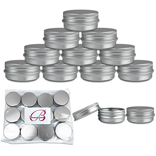 Beauticom (Quantity: 6 Pieces) 15G Aluminum Silver Tin Metal Round Storage Jars Containers with Secure Screw Top Lids for DIY Salves, Balms, Skin Care and Make Up Beauty Samples