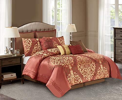 Wonder-Home 10-pc. Luxury Royal Comforter Set, Jacquard Face & Brushed Microfiber Backing, Classic Bedding Set, Oversized & Overfilled, Timeless Design, Queen, 92
