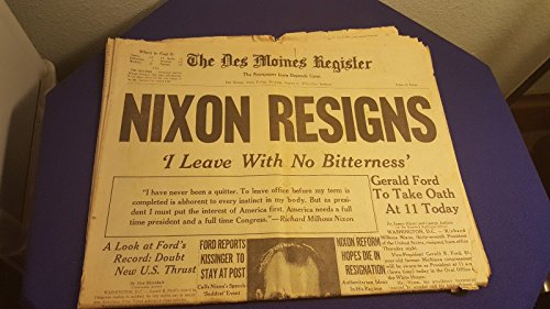 August 9Th 1974 The Des Moines Register Newspaper Nixon Resigns