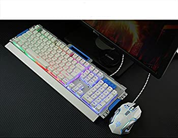 IREALIST LED Backlit Gaming Keyboard and Mouse Combo Bundle,  USB Wired  Illuminated  Keyboard with Rainbow Backlight 104-Key Anti-ghosting Game Keyboard
