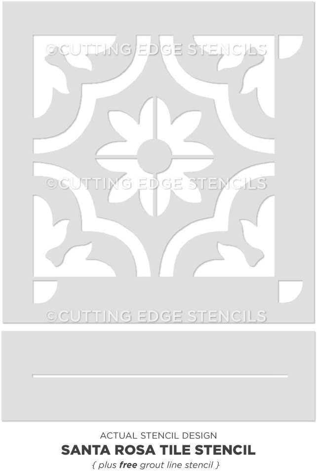 Small Stencils for Painting Floors Tile Stencils for Painting Tile Floor Santa Rosa Tile Stencil Paint Your Old Tile and Save Reusable Tile Stencils for Linoleum and Cement Floors