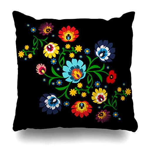 NOWCustom Throw Pillow Cover Square Size 18 x 18 Inches Ornate Polish Floral Folk Pattern Arts Nature Embroidery Art Ethnic Green Poland Color Zippered Pillowcase Home Decor Cushion Case