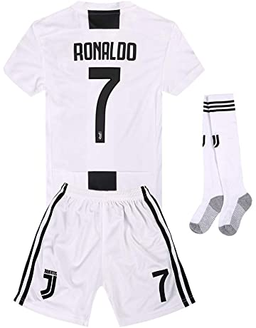 Juventus Kids Youth Home  7 Ronaldo Soccer Jersey and Shorts and Socks 18  59ec9942e