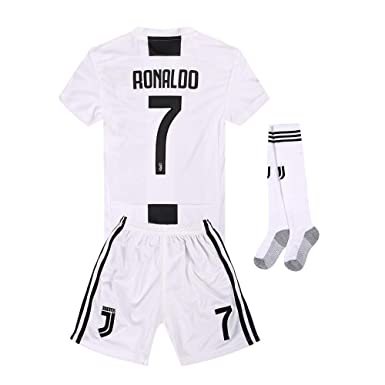 new product 10420 a53c1 Juventus Kids/Youth Home #7 Ronaldo Soccer Jersey and Shorts and Socks  18/19 Season White