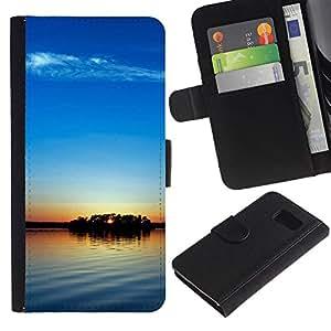 LASTONE PHONE CASE / Lujo Billetera de Cuero Caso del tirón Titular de la tarjeta Flip Carcasa Funda para Samsung Galaxy S6 SM-G920 / Sunset Beautiful Nature 104