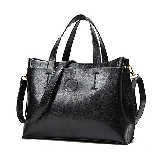 Oil Pu Meaeo Bag Big Bag Leather Black Big Black Wax Bag Wild ZqwHUXwxg