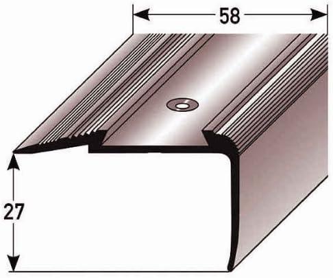 Perfil de escalera (23 mm x 58 mm) aluminio, fotoluminiscente, perforado, plateado metálico: Amazon.es: Hogar