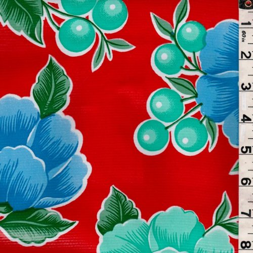 Floral Berry Oilcloth, Fabric by The Yard (Red) ()