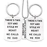 O.RIYA Christmas Gifts Fathers Mothers Birthday Jewelry Necklace Gift, Mommy Daddy Son Stole Heart Set Little Boy Kids Love Mothers Day Fathers Pendant Necklace Set of 3, Gift for Daughter