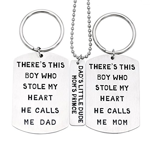 O.RIYA Fathers Mothers Birthday Jewelry Necklace Gift, Mommy Daddy Son Stole Heart Set Little Boy Kids Love Mothers Day Fathers Pendant Necklace Set of 3, Gift for Daughter