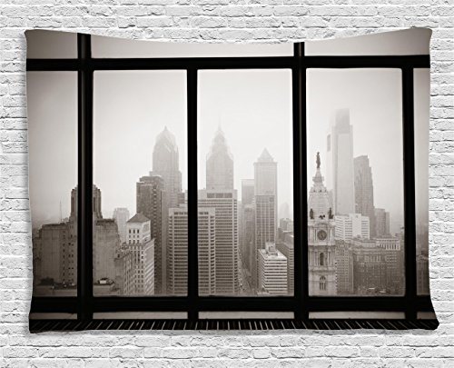 House Decor Tapestry by Ambesonne, Philadelphia City Rooftop View Through Window Skyline Landmark Rooftop Travel, Bedroom Living Room Dorm Wall Hanging, 60 W X 40 L Inches, Sepia Color (Philadelphia Party City)