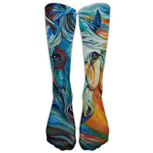 Colored Geometry Horse Head Unisex Fun Pattern Crew Socks Long Socks Boy's Girl's