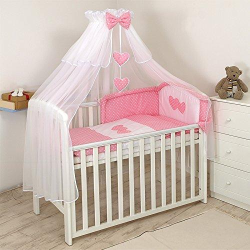 11tlg. Babybettwäsche Set, 135x100cm, 140x70cm, weiß-rosa Herz weiß-rosa Herz toys4u