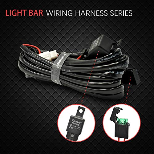 WOWLED 2 Leads Wiring Harness, 12V 24V Offroad LED Light Bar Wiring Harness Kit for Off Road Work Lights Fog LED Light Tractor Lamp Loom Harness with 12V 40A Relay without Switch: