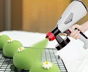 JIAWANSHUN Cake Decorating Airbrush Kit Mousse Cake Sprayer Kit with Spray Nozzle & Spool 800ml (110V)