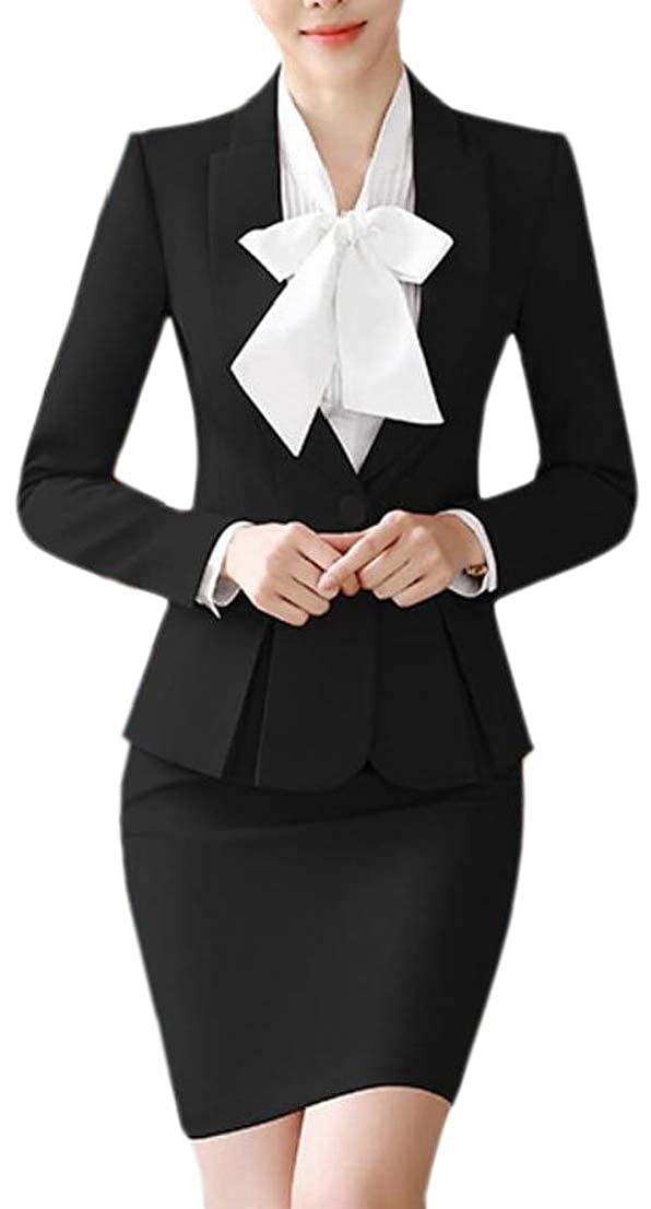 Generic Womens Office Work Solid Bodycon Blazer and High Waisted Skirt Set