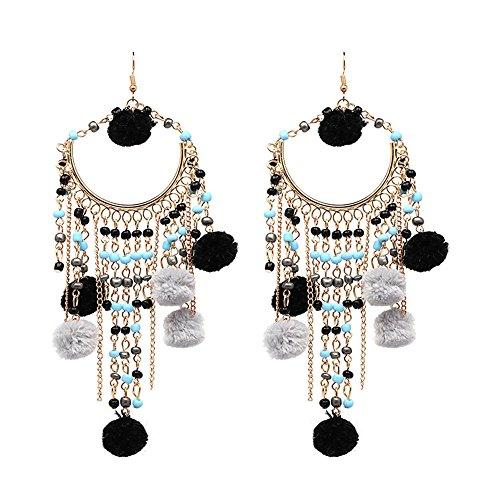 lureme Bohemia Ethnic Chandelier Long Pom Pom Beaded Hook Dangle Tassels Earrings-Black(er005682-2)