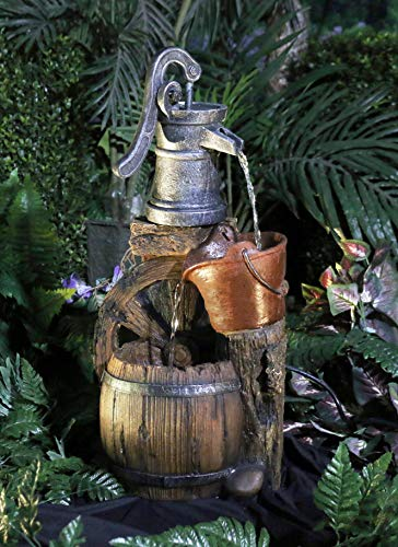 Alpine Corporation WCT688 Old Fashion Pump Barrel Rustic Fountain, 24 Inch Tall, Brown and Grey - Make sure this fits                by entering your model number. BARREL FOUNTAIN: Garden water fountain is the perfect addition to your outdoor decor. Interior pump keeps the water flowing - just plug it in! RELAXING WATER FLOW: Water trickles from the pump spout into the bucket and barrel tiers, adding peaceful ambiance to your outdoor setting - patio, outdoor-decor, fountains - 51Y1ezM1VzL -