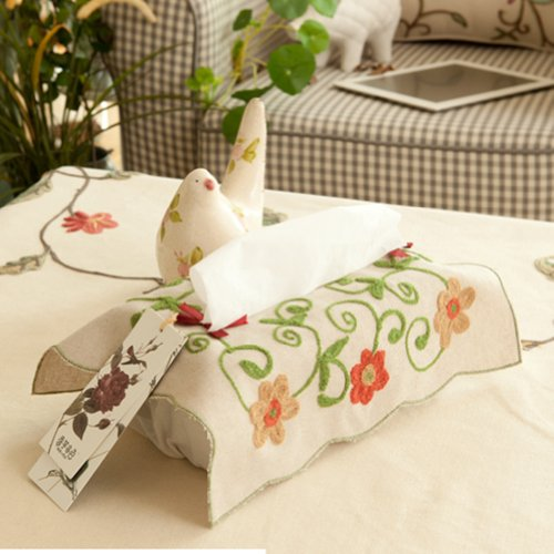 - SewForever Foral Embroidered Linen Cotton Tissue Box Cover